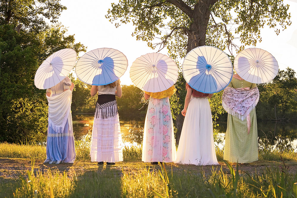Jane Austen Inspired Shoot at Fort Sill, Oklahoma, The Bennet Sisters looking at the sunset.jpg