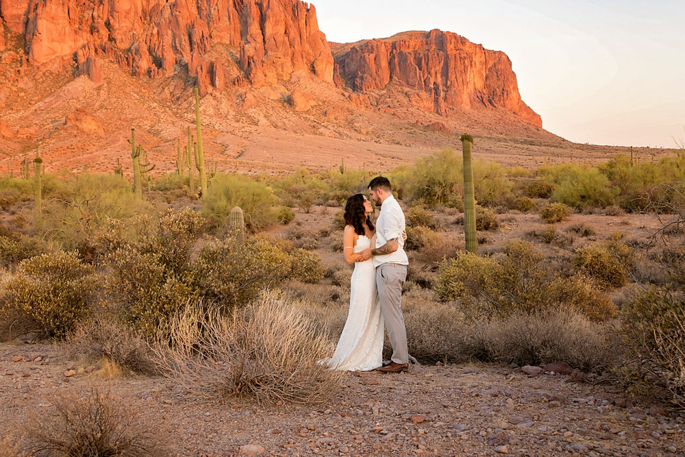 Bohemian Bride and Groom in front of Desert Mountain.jpg