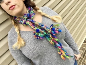 click image for cool chick pom pom scarf pattern