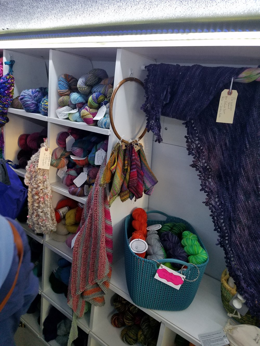 So much fun yarn and fiber products packed into the truck.