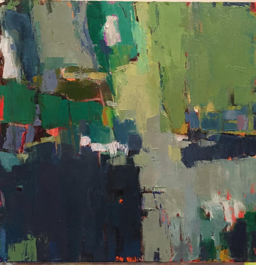"""Park, Acrylic + Oil on canvas, 24""""x 24"""", $850"""