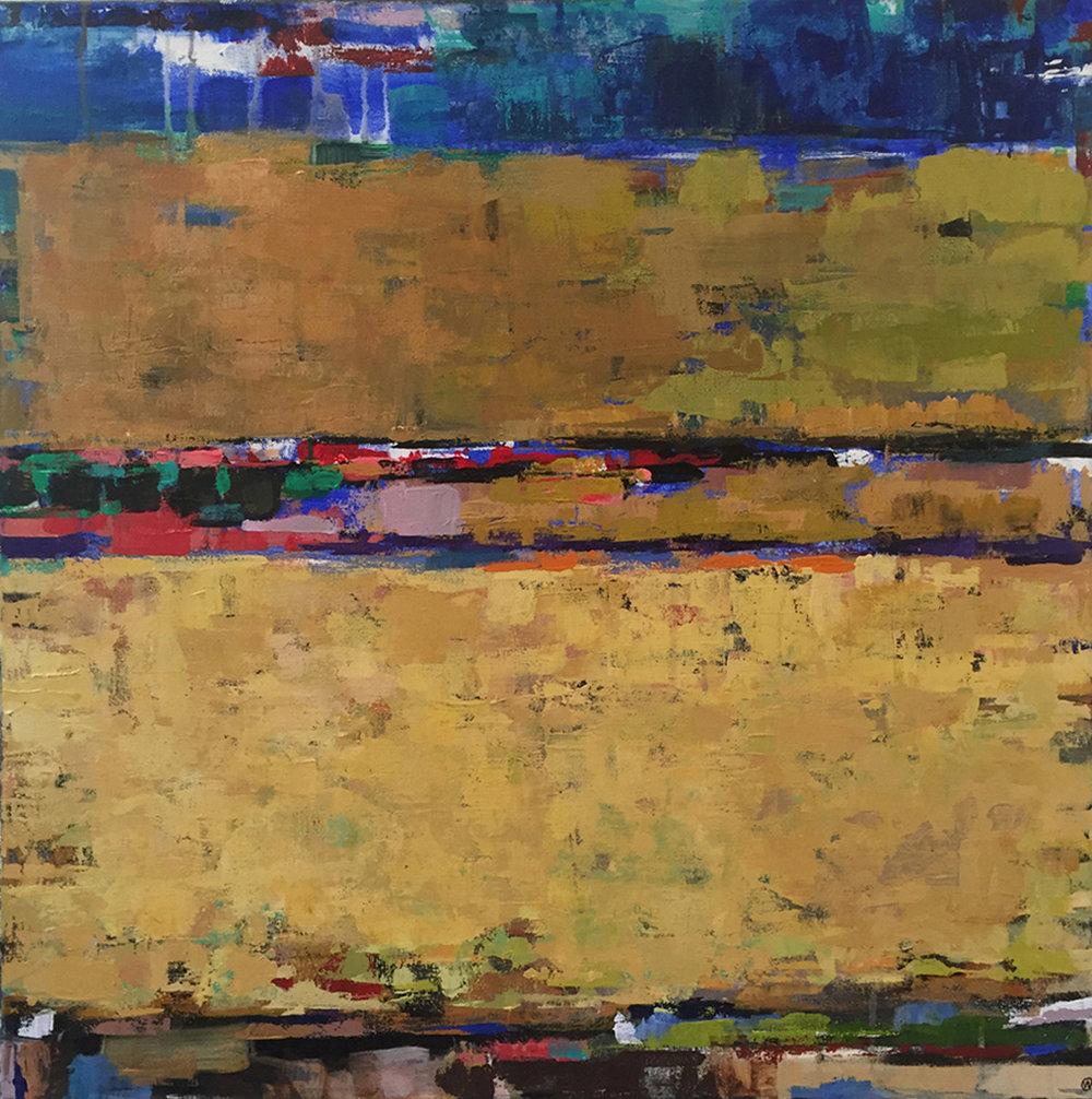 "Golden, Acrylic + Oil on canvas, 24""x 24"", $850, SOLD"