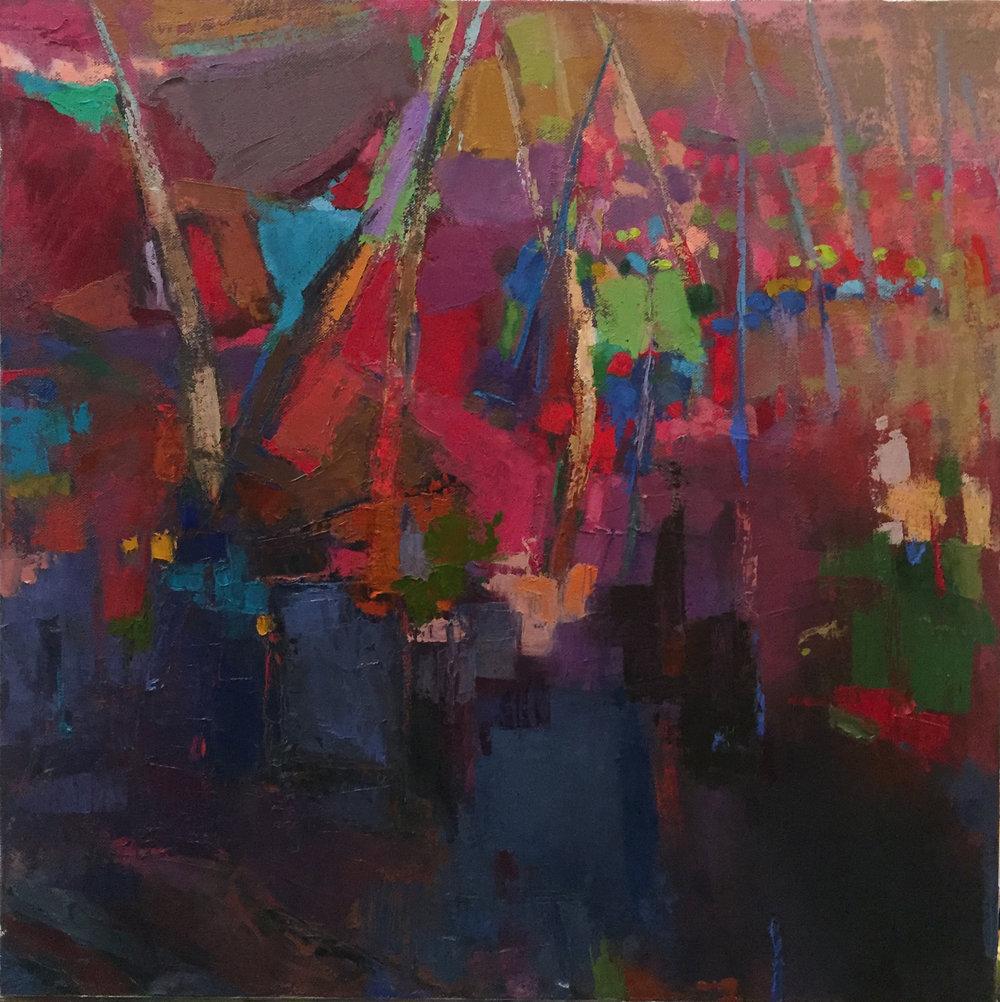 """Sailing, Acrylic + Oil on canvas, 20""""x 20"""", $750"""