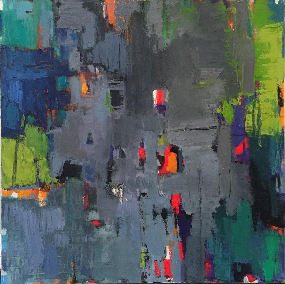 "Breaking Through, Acrylic + Oil on canvas, 24""x 24"", $850"