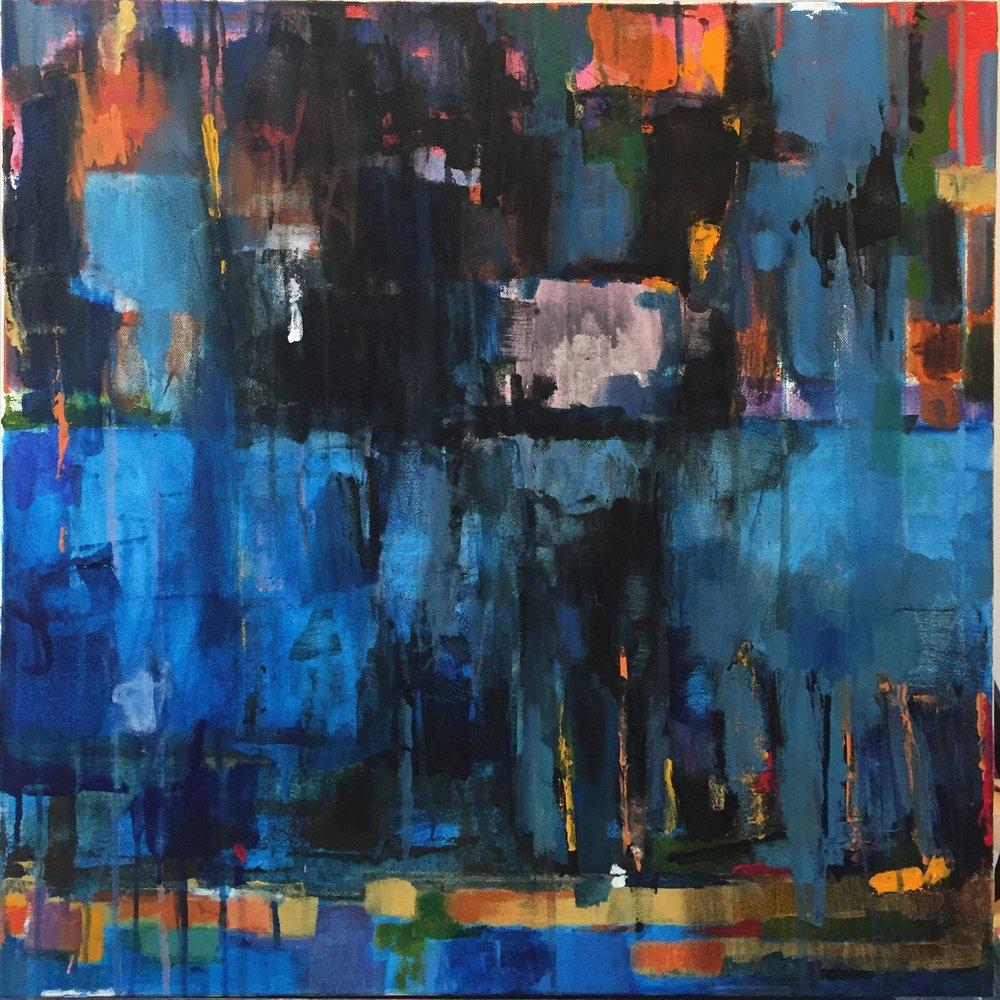 """Blue Rain, Acrylic + Oil on canvas, 24""""x 24"""", $850 SOLD"""