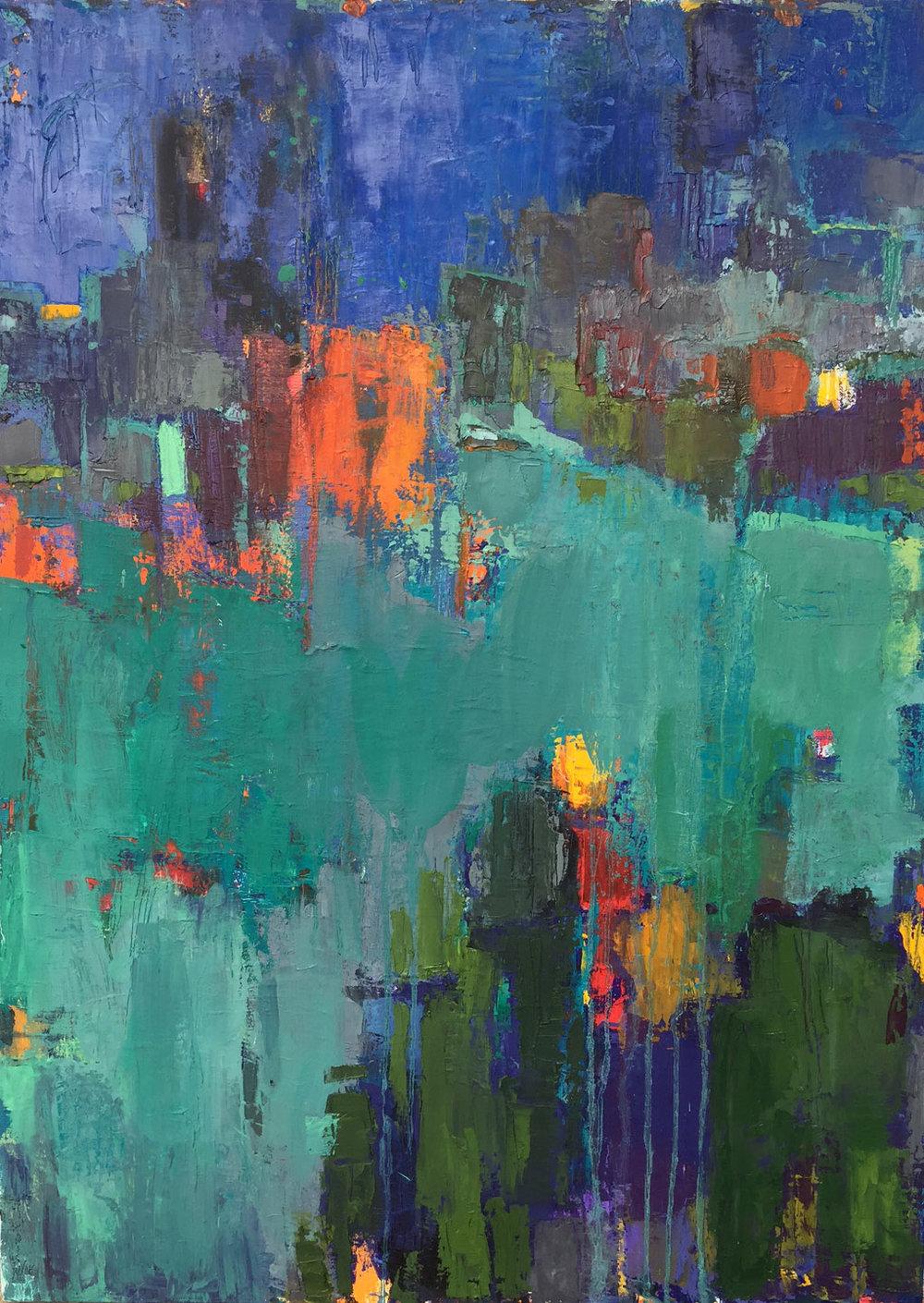 "Doorway, Acrylic + Oil on canvas, 26""x 36"", $1100"