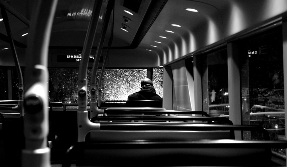 A lonely journey home on Bus 12, London