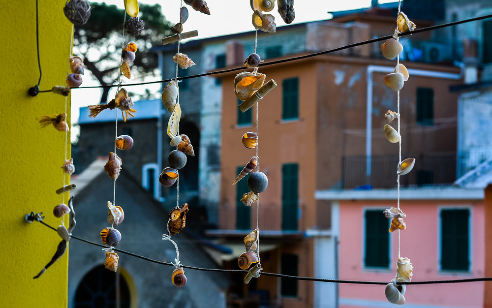 Imagine the clicking sound of shells in the sea breeze, Corniglia, Italy