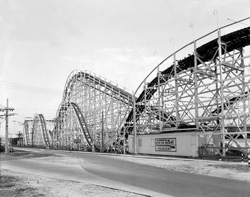 """The Rocket"" roller coaster at the Ocean View amusement park in the 1950's. [OV] Church began in 1907 inside the shed pictured here."