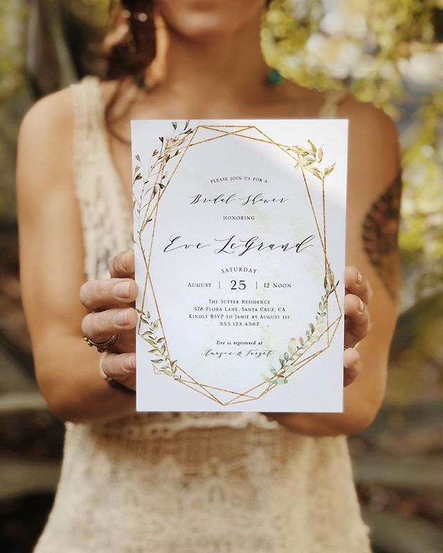 Love this custom geometric shower invitation with a splash of greenery and faint watercolor background. Designs like these make my heart sing!!!