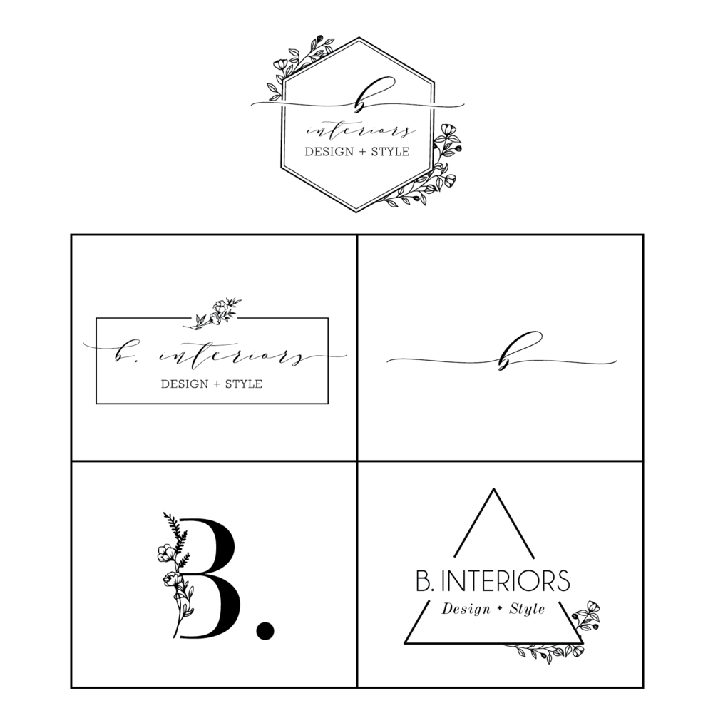 Logo design + brand identity - B. Interiors is a start up interior design company focused on design, style, up-cycling and renovation. They strive for a sophisticated, modern and slightly feminine look with quaint, charming accents.