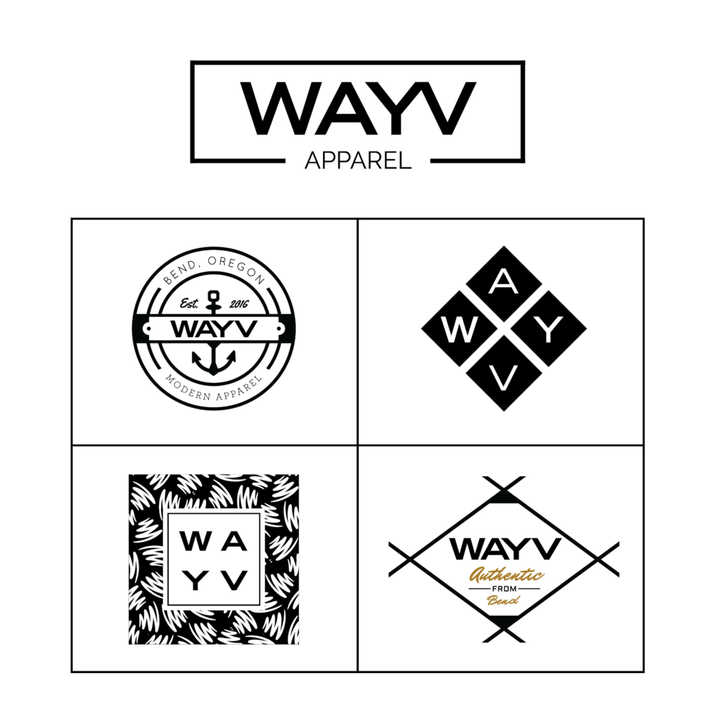 LOGO+MERCH DESIGN + brand identity - Wayv Apparel is a West Coast lifestyle brand that unites people through positivity and diversity with modern apparel. Their branding included modern fashion and full merchandise design.