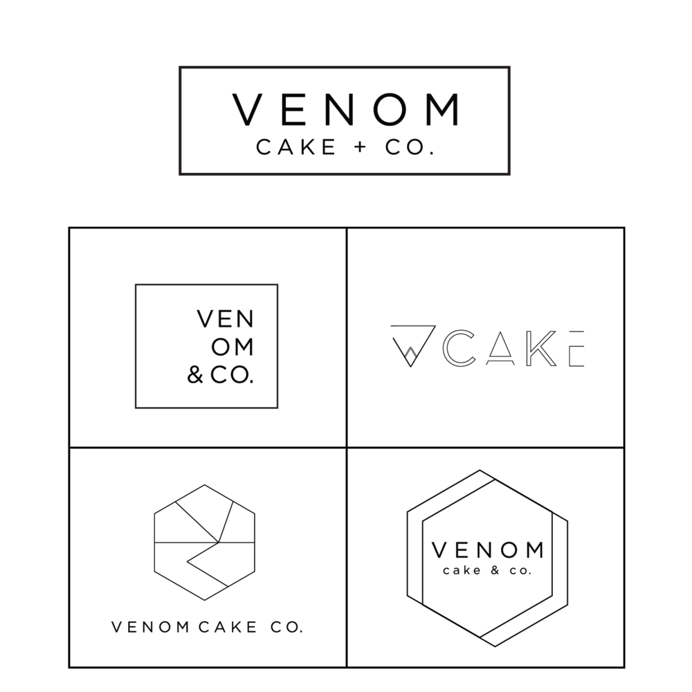 LOGO DESIGN + BRAND IDENTITY - Venom Cake + Co. envisioned creating a funky, cutting edge cake company with outstanding products. Venom specializes in creating delicious goods for any occasion using quality ingredients and unique style, incorporating unique geometric shapes to add to their quirk and funky brand.