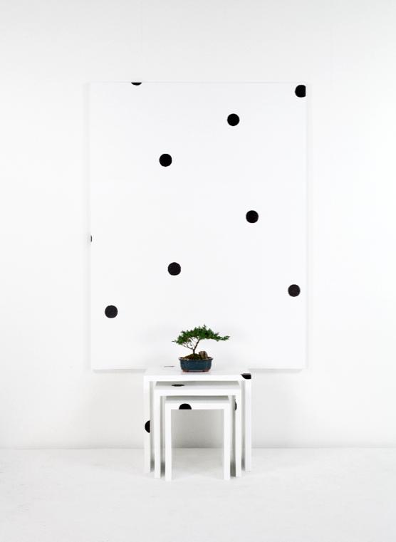 Margaret Lee, (Superstudio Nesting tables) + Dot Painting + Bonsai, 2014