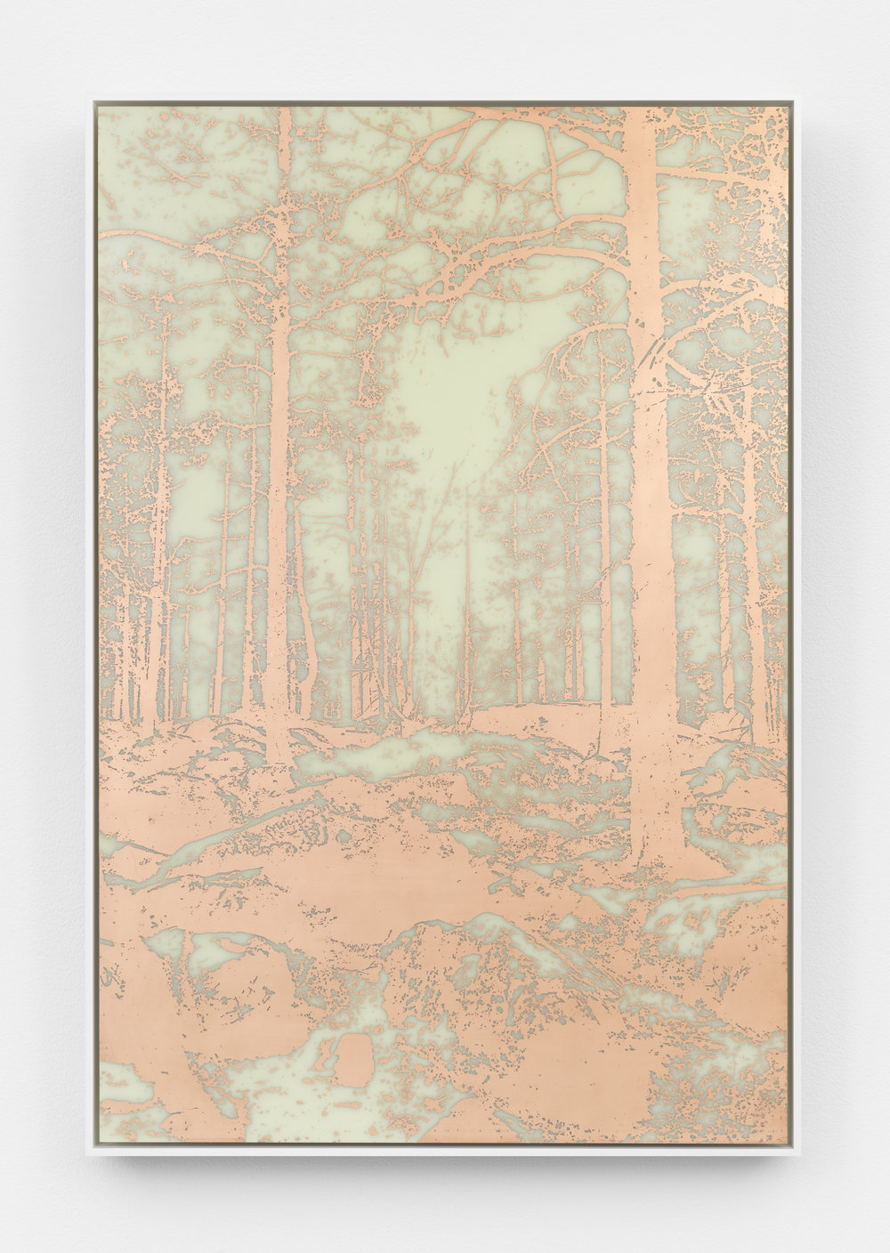 James Hoff Useless Landscape No. 27 2016 copper etching on fiberglass, aluminum, wood, lacquer Courtesy of the artist and Callicoon Fine Arts, NY.
