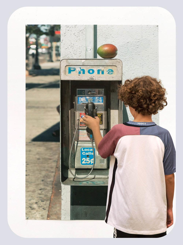 Brandon Lattu, Boy with Image of Payphone, 2016 Inkjet print, aliminum frame Courtesy the artist, Koenig & Clinton, New York. Photo/ Brandon Luttu, Los Angeles