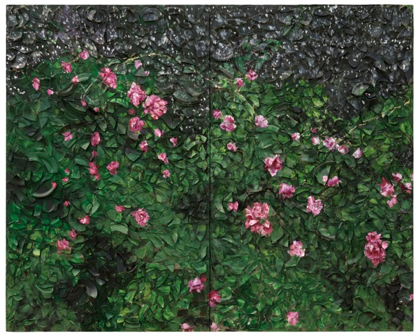 Julian Schnabel, Rose Painting (Near Van Gogh's Grave) X, 2016 Oil, plates and   bondo   on wood © Julian Schnabel StudioPhotograph by Gary Mamay, Courtesy of Pace Gallery