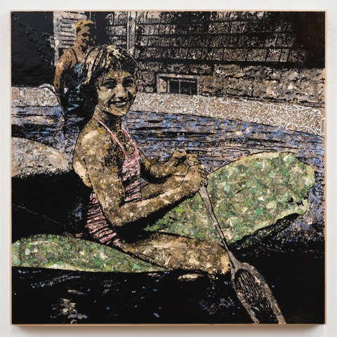 Jane Hammond, Paddler, 2016 Acrylic paint on mica over Plexiglass with silver, gold, copper and palladium leaf © Jane Hammond, Courtesy Galerie Lelong, New York.