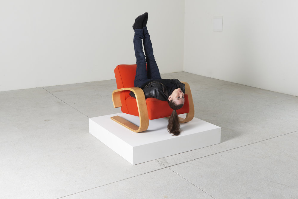 Erwin Wurm, Spaceship to venus, One Minute Sculpture, 2016 instruction drawing, Aalto Tank lounge chair, model 37, and realized by public Courtesy the artist and Lehmann Maupin, New York and Hong Kong Photograph/ Eva Wuerdinger