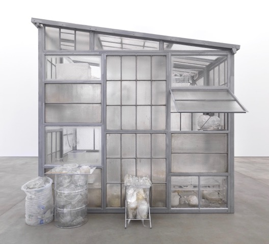 Robert Therrien, Transparent Room, 2010 Steel, glass, plastic 145 × 108 × 156 inches ©  Robert Therrien. Photo by Jens Ziehe/Photographie. Courtesy Gagosian