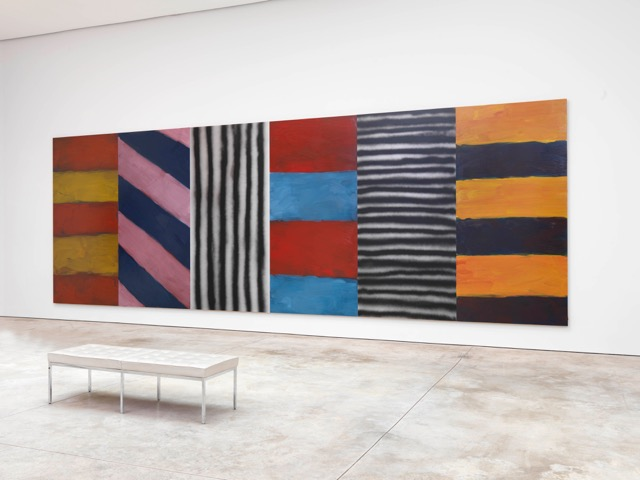 Sean Scully, Blue Note,  2016 Oil and acrylic spray on aluminum Courtesy the artist and Cheim and Read