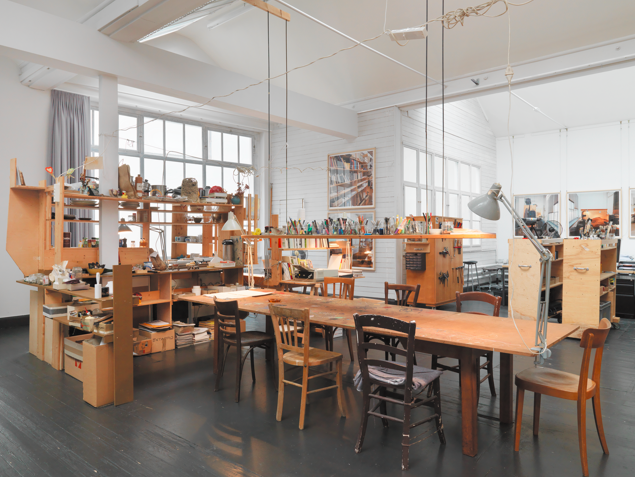 Dieter Roth / Björn Roth, The Studio of Dieter and Björn Roth, Ackermannshof, Basel 1995 – 2008 Mixed media installation; worktables, photographs, various objects Dimensions variable