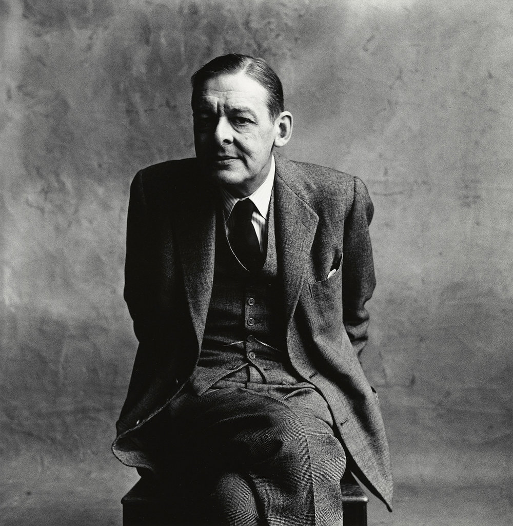 Irving Penn, T.S. Eliot(A), London, 1950 gelatin silver print image, 10 3/4 x 10 1/2 inches © The Irving Penn Foundation