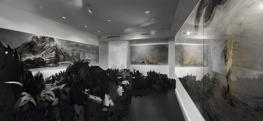 Jennifer Wen Ma, Eight Views of Paradise Interrupted , Ink, paint, acrylic panels, paper, projection. Sandra Gering Inc, New York, 2017 Photo by Daniel Terna