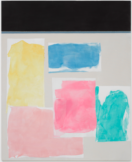 Peter Joseph, Black, Yellow, Blue, 2 pinks and Turquoise, 2016 Acrylic on cotton duck © Peter Joseph; Courtesy Lisson Gallery Photo by Jack Hems