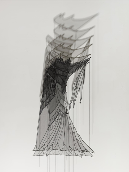 Afruz Amighi. Headdress for an Empress, 2017. Steel, fibreglass mesh, chain, light, 46 x 28 x 14 in (117 x 71 x 36 cm). Photograph: Studio Suarez. Copyright 2017. Courtesy of Leila Heller Gallery.