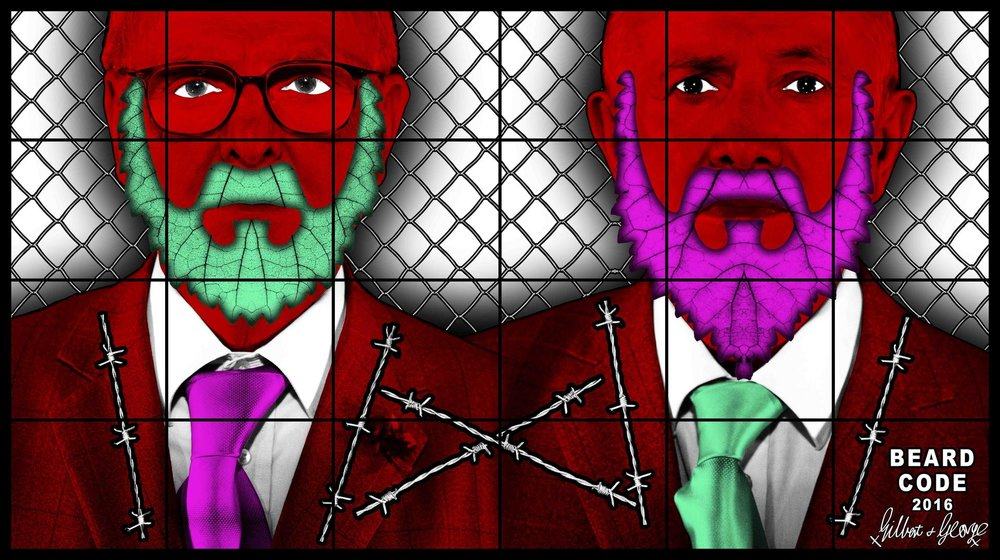 GILBERT & GEORGE BEARD CODE, 2016 mixed media 100 x 177.95 inches 254 x 452 cm LM25901 © Gilbert & George. Courtesy the artists and Lehmann Maupin, New York and Hong Kong.