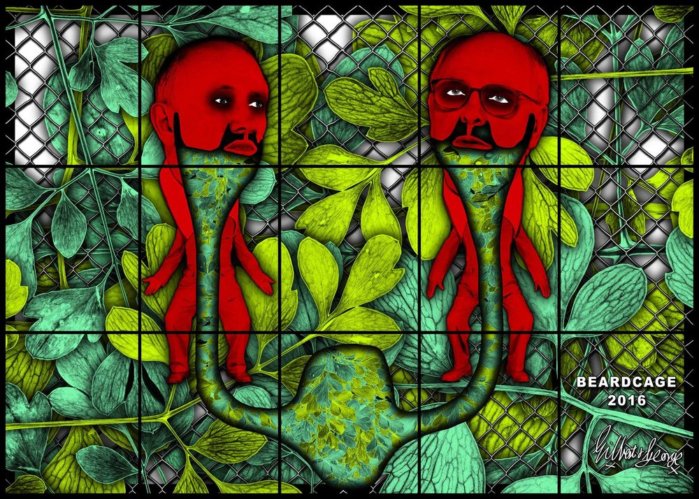 GILBERT & GEORGE BEARDCAGE, 2017 mixed media 88.98 x 124.8 inches 226 x 317 cm LM25895 © Gilbert & George. Courtesy the artists and Lehmann Maupin, New York and Hong Kong.