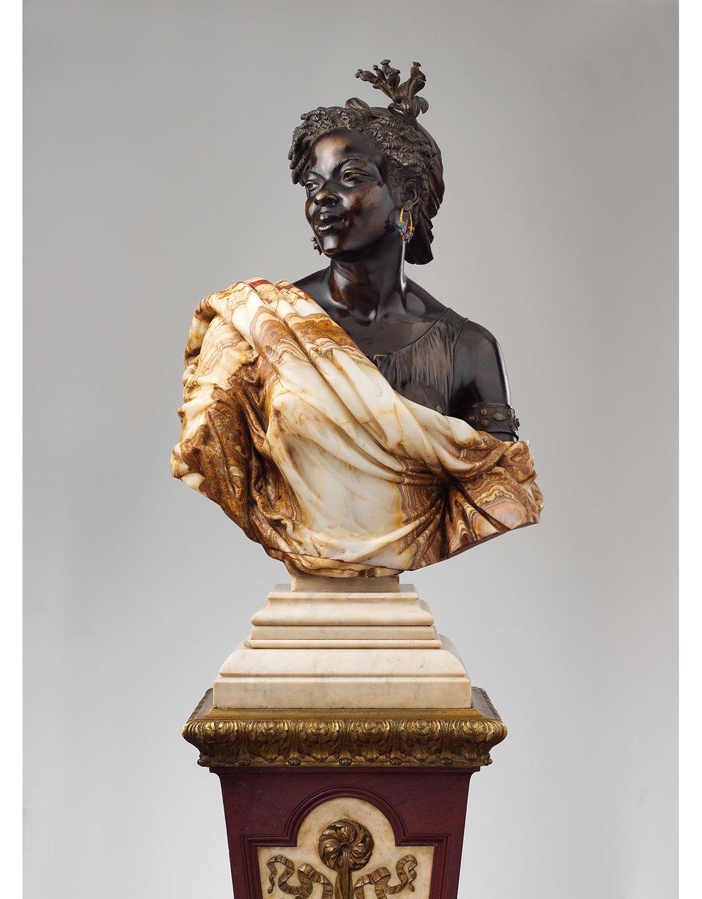 "Charles-Henri-Joseph Cordier, attributed to designs by Charles-François Rossigneux, ""La Capresse des Colonies"" (1861). The Metropolitan Museum of Art, European Sculpture and Decorative Arts Fund, 2006."