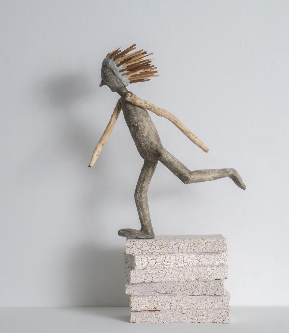 Runaway, clay, wood, resin, paint, 2018