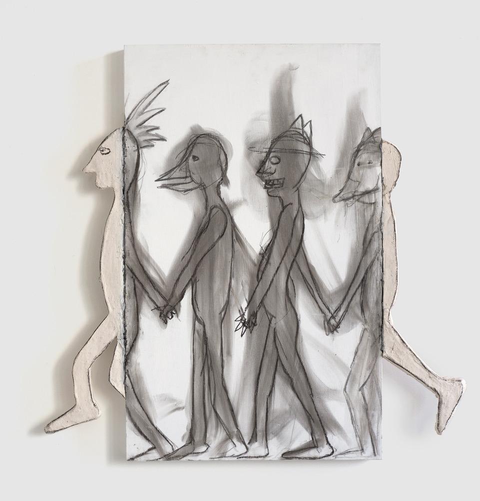 Melissa Stern, Squad, wood, charcoal, 2018