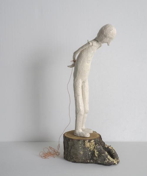 Gaze , clay, wood, glass, string, 2018