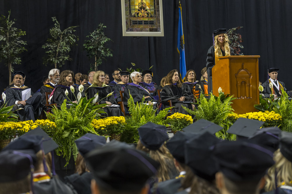 Hillary delivering the valedictorian speech at the Hooding Ceremony in May 2015