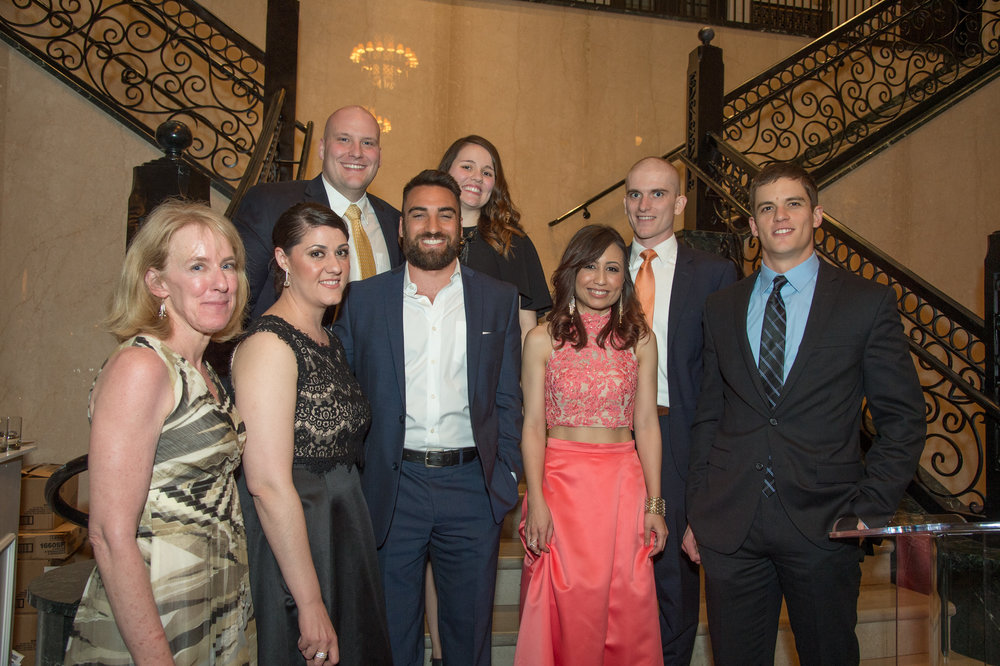 Deric McClellan with Dean Entzeroth and fellow TU Law students at the 2016 Barrister's Ball