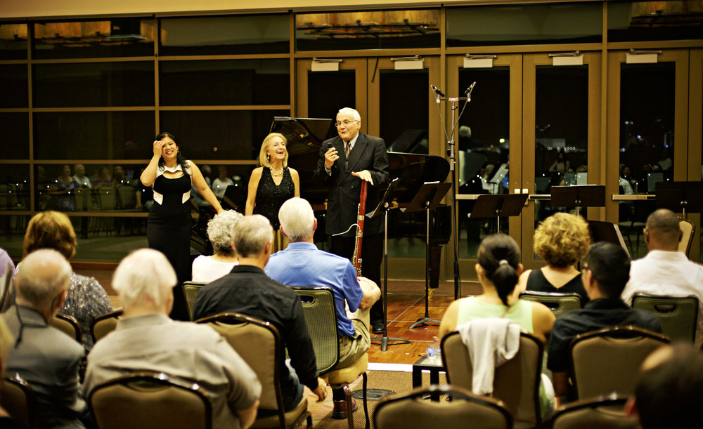 Frank Morelli and Carol Wincenc, bassoon and flute professors of the Juilliard School and Grammy-nominated musicians, recall a humorous story about working with aaron copland before they perform Copland's Appalachian Spring.