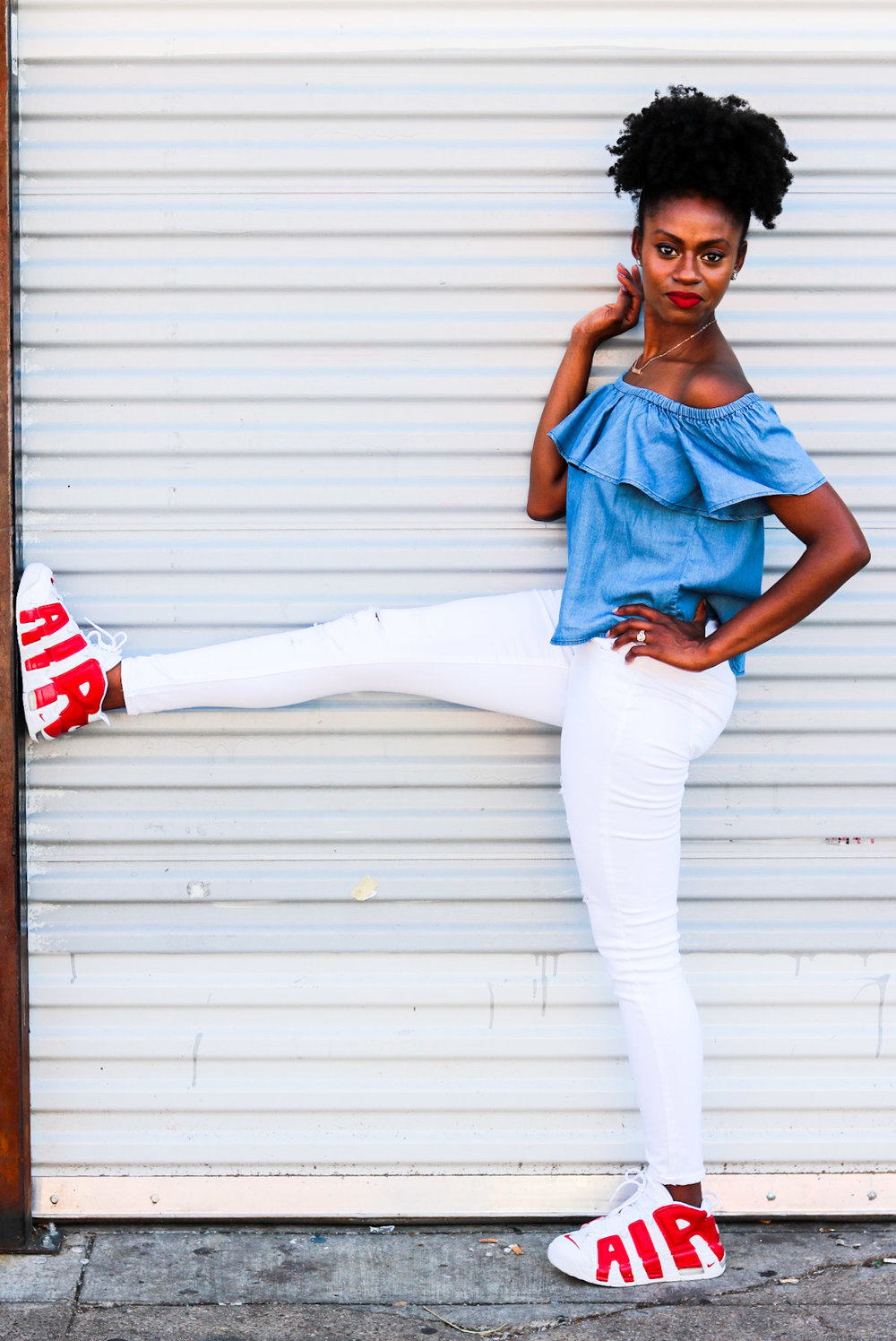 how to wear off shoulder denim top white distressed jeans high top sneakers