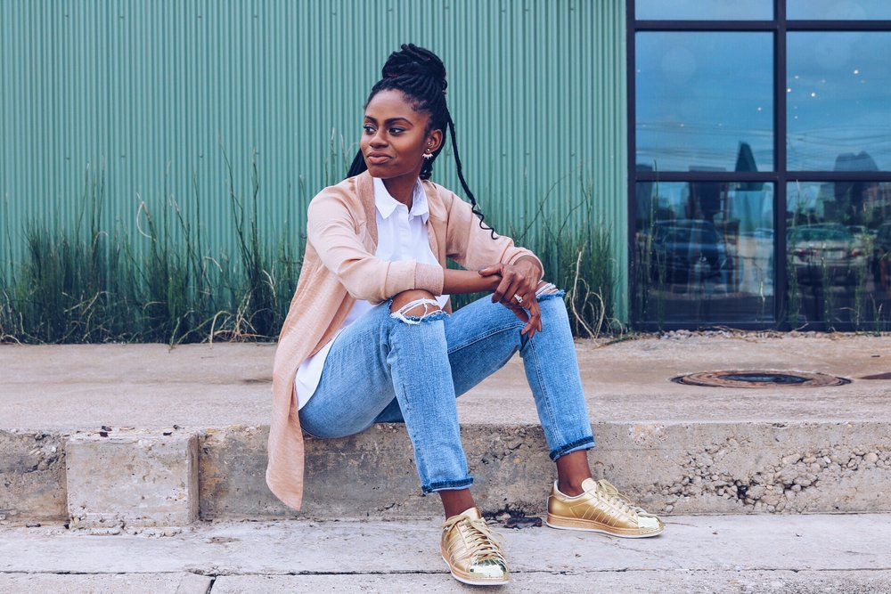 how to wear mixed metallics rose gold bomber distressed denim white ruffle top metallic gold adidas
