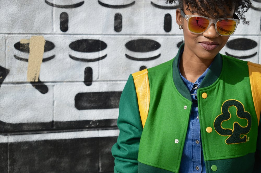 green and yellow varsity jacket denim button down shirt