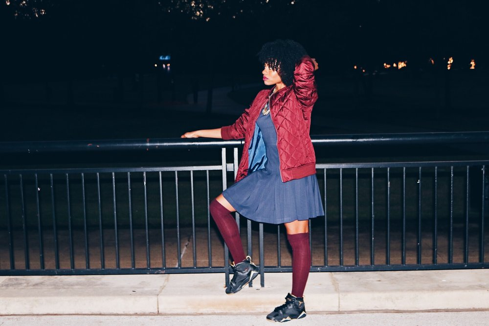 wine bomber navy dress wine over the knee socks sneakers