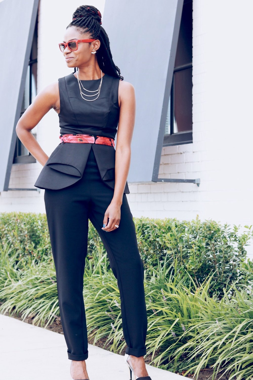 black peplum jumpsuit outfits for non-shoppers and buys shoppers