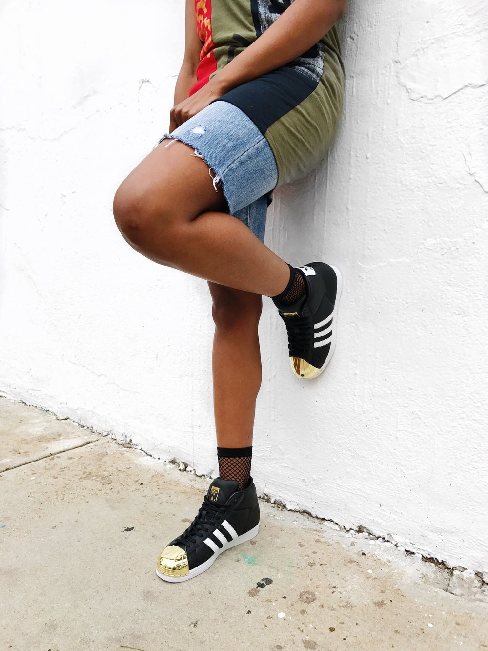 cocomocha urban art wear black red army green one shoulder top distressed denim shorts adidas pro model black white gold toe sneaker