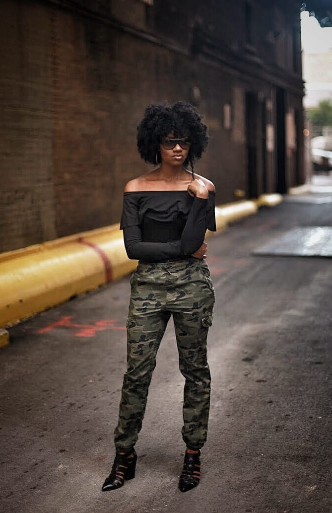 off the shoulder top cargo camo pants gladiator heels