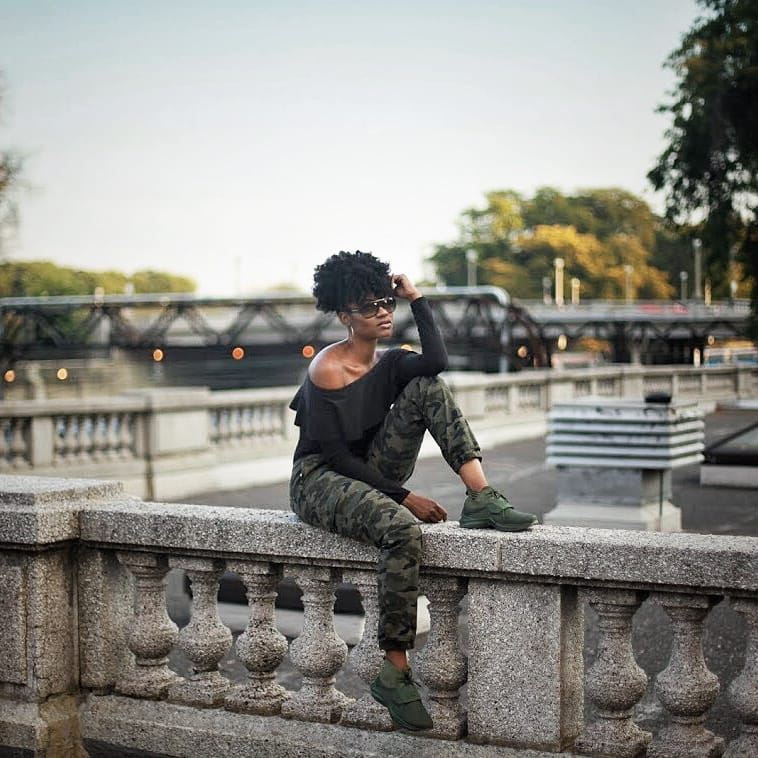 fenty puma trainer off the shoulder top camo cargo pants