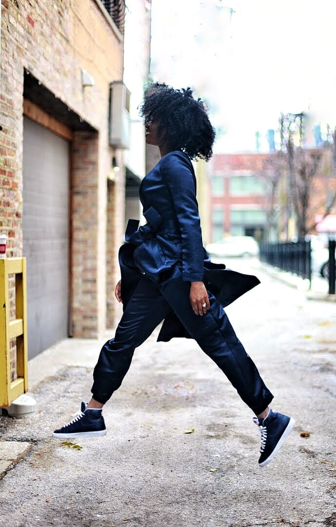 navy bebe satin matching set with navy nike blazer sneakers and mustard top