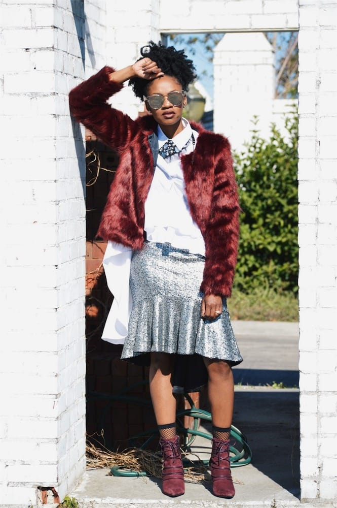 high low sequin skirt white ruffle high low top wine faux fur jacket wine booties