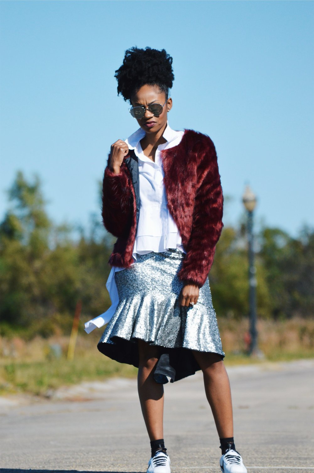 faux fur wine jacket white high low ruffle top silver sequin high low skirt white black nike cortez sneakers